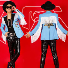 Men Singer Costume Rave Performance Clothing Nightclub White Tassel Blazer Men's Bar Male DJ Slim Blue Jacket Stage Wear DT1156(China)