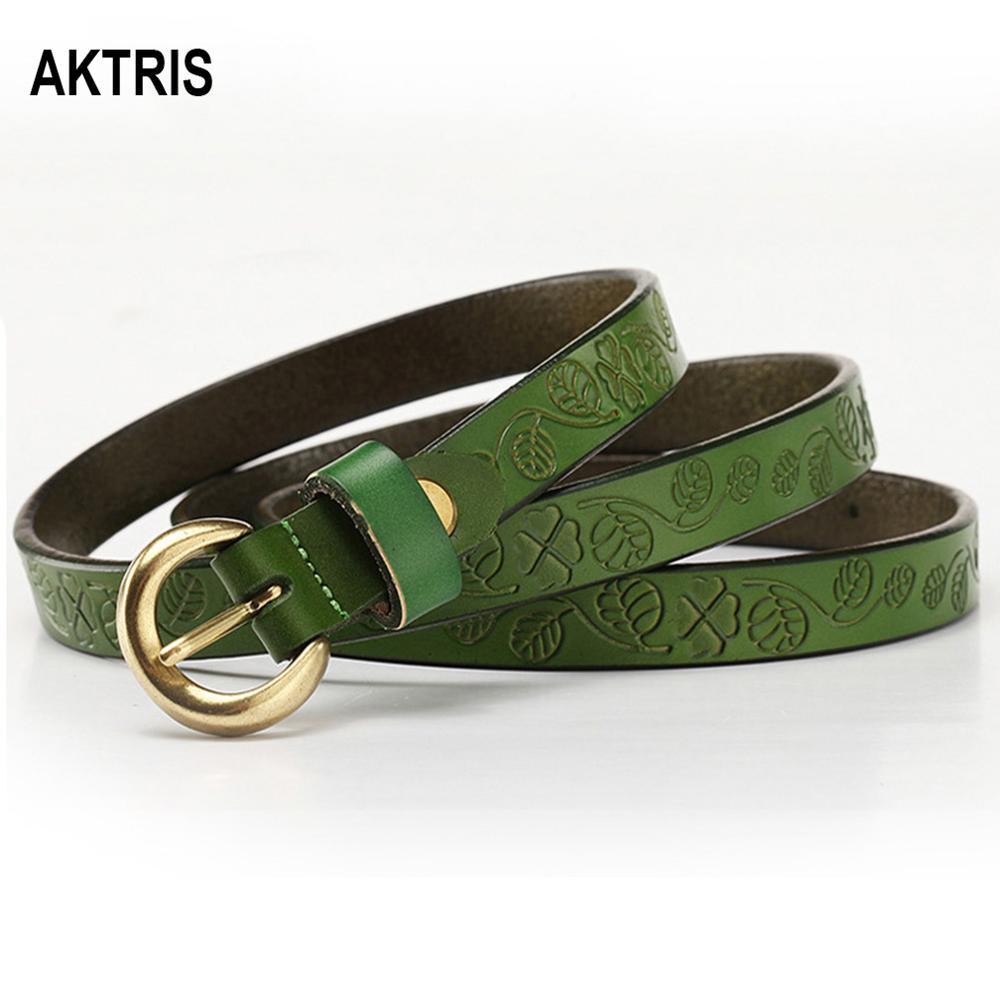 AKTRIS Ladies Genuine Female Waist Belts Womens Pin Buckle Metal Leather Belt Leaf Pattern Width Dresses for Women FCO145