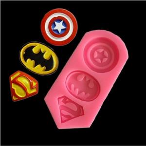 3D Captain America Shield,Batman,Superman Shape Silicone Mold Cookie Fondant Cake Molds DIY Kitchen Baking Tools