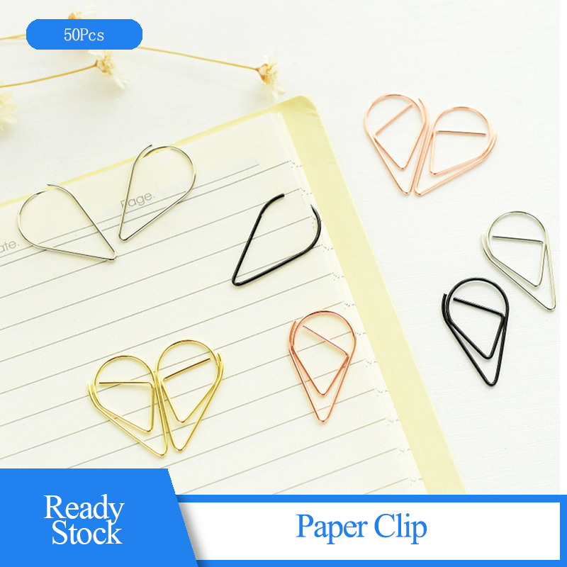 50 Pcs Paper Clip Fresh Simple Water Shape Cute Metal Bookmarks Paper Clip Office Supplies Hand-decorated Stationery