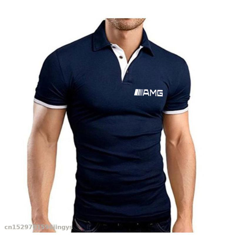 New Men's Polo Shirt Summer Short Sleeve Tshirts High Quality For Amg Logo Sports Jerseys Clothes Top Tees Turn-down Collar Polo