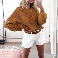 Elegant basic knitted sweater women Autumn winter lantern sleeve knitting top jumper female Casual hollow out pullover outerwea