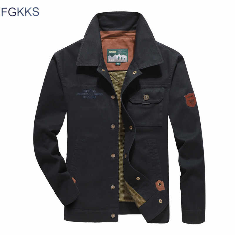 FGKKS Men Autumn Winter New Jacket Men's Fashion Casual Jacket Male New England Solid Color Jacket Brand Clothing