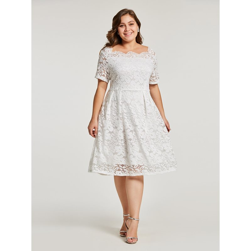 Elegant Women Lace Dress 2019 New Office Ladies Summer Autumn High Waist Short Sleeve Plain Female Party Dresses Black White in Dresses from Women 39 s Clothing