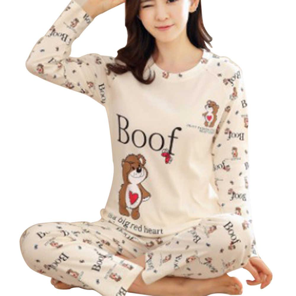 """CALOFE Pyjama Set Đồ Ngủ Cho Nữ Pijamas Thường Ngày Femme Cotton Pijama Mujer """"Nhà Quần Áo Piyamas Ngọt Dễ Thương Đồ Ngủ"""