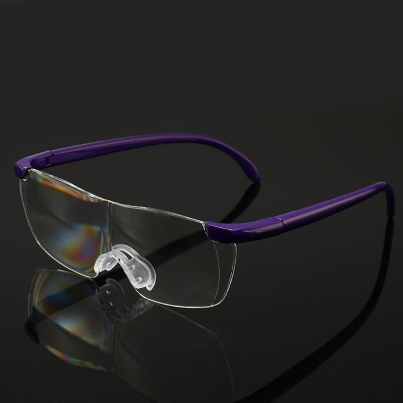Зеркало для чтения, 250 градусов, очки для зрения, увеличительные очки, очки для чтения, портативный подарок для родителей, дальнозоркое увеличение - Цвет оправы: Violet