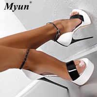 Grande taille 41 42 43 44 45 46 sandales d'été femmes chaussures plate-forme Sexy 16 CM talons hauts bout ouvert boucle discothèque chaussures noir blanc