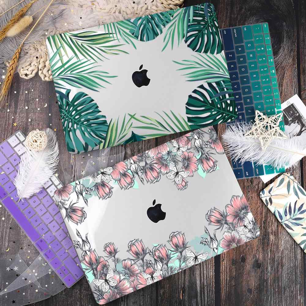 Hijau Daun Dicetak Plastik Case Cover untuk Macbook Air 11 12 13 A1932 2020 Pro 13 A2251 A2289 15 16 touch Bar 2019 A2141