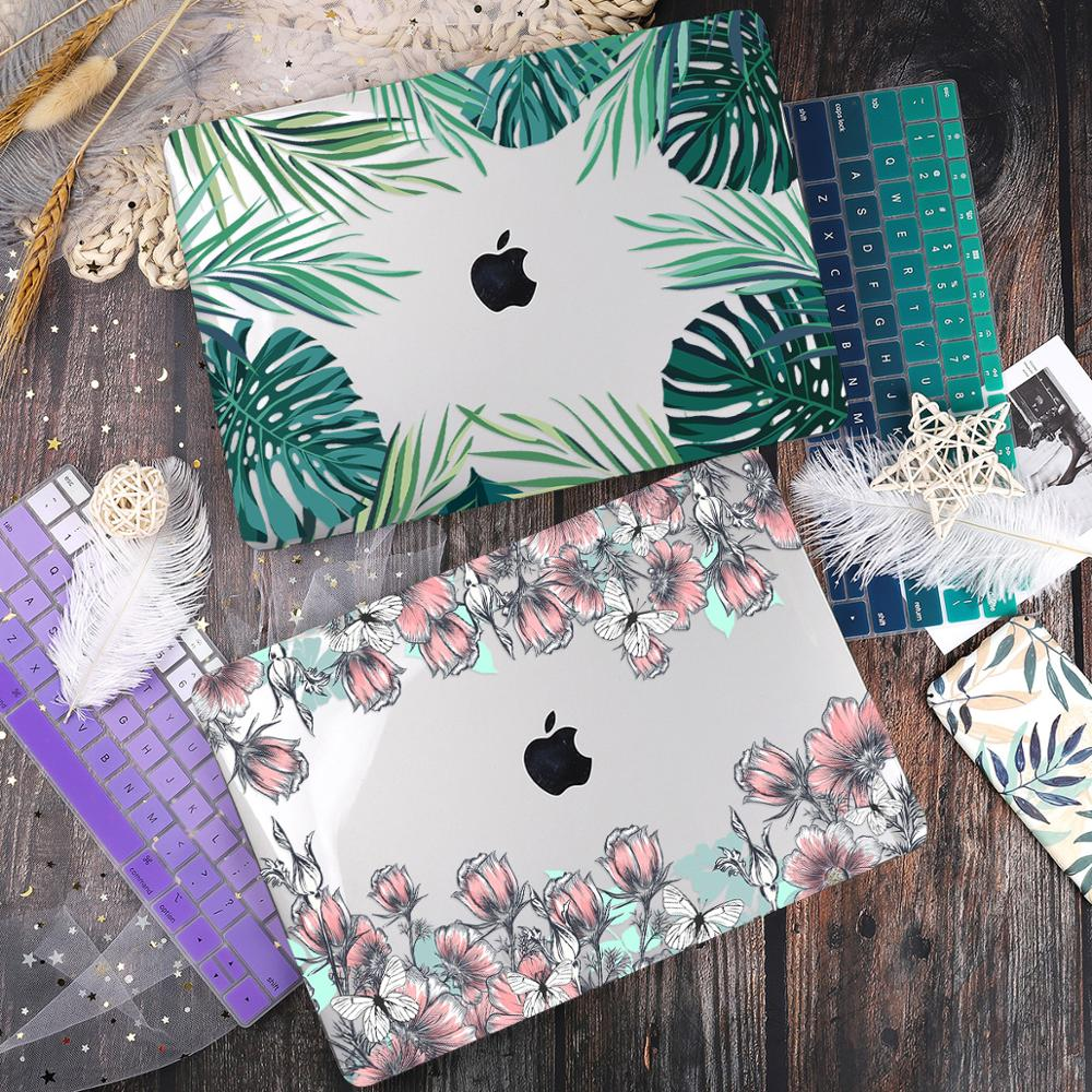 Green Leaves Beautiful Petals Printed Plastic Case Cover for Macbook Air 11 12 13  A1932 2020 Pro 13 15 16Touch Bar 2019 A2141case cover for macbookcover for macbookcover for macbook air -