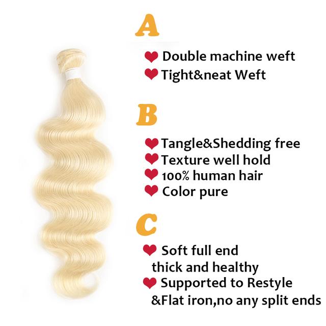 Brazilian Body Wave Human Hair Bundles (Colour: 613, 8 – 26 inches)