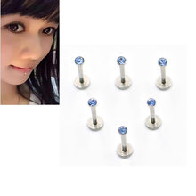 1 Pc Silver Labret Lip Ring Zircon Anodized Threaded Prong อัญมณี Tragus Helix Ear ต่างหูผู้หญิ(China)