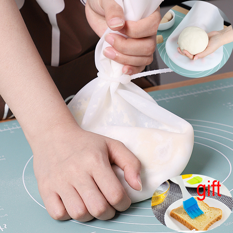1set Durable Silicone Pastry Blender Flour Mix Bag Kneading Dough Bread Pizza Bag Reusable Cooking Kitchen Tools
