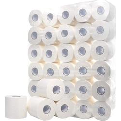 Rollo de papel higiénico blanco, rollo de papel higiénico, paquete de 30 toallas de papel de 3 capas, rollo de papel de repuesto hueco, impresión interesante T
