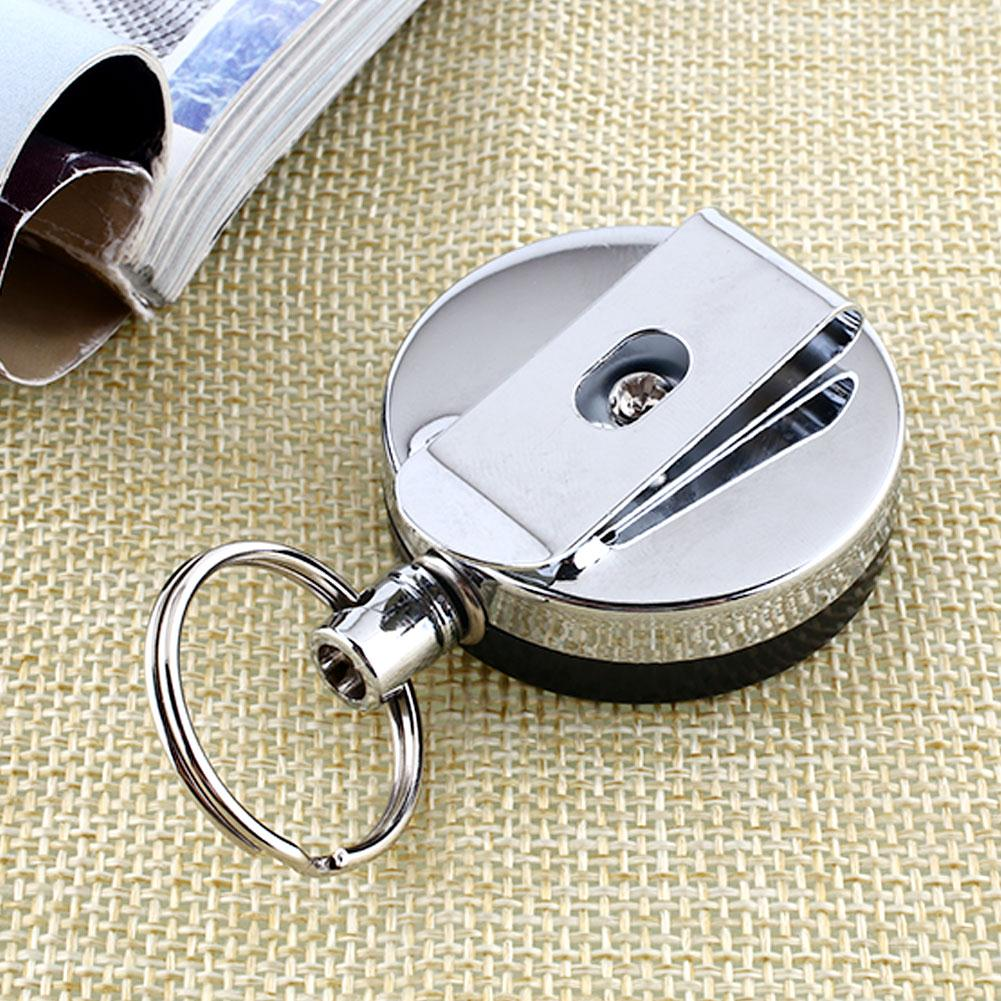 60cm Key Chain Recoil Extendable Metal Wire Ring Clip Pull Keyring Retracting Keychains For Bag Key Decor