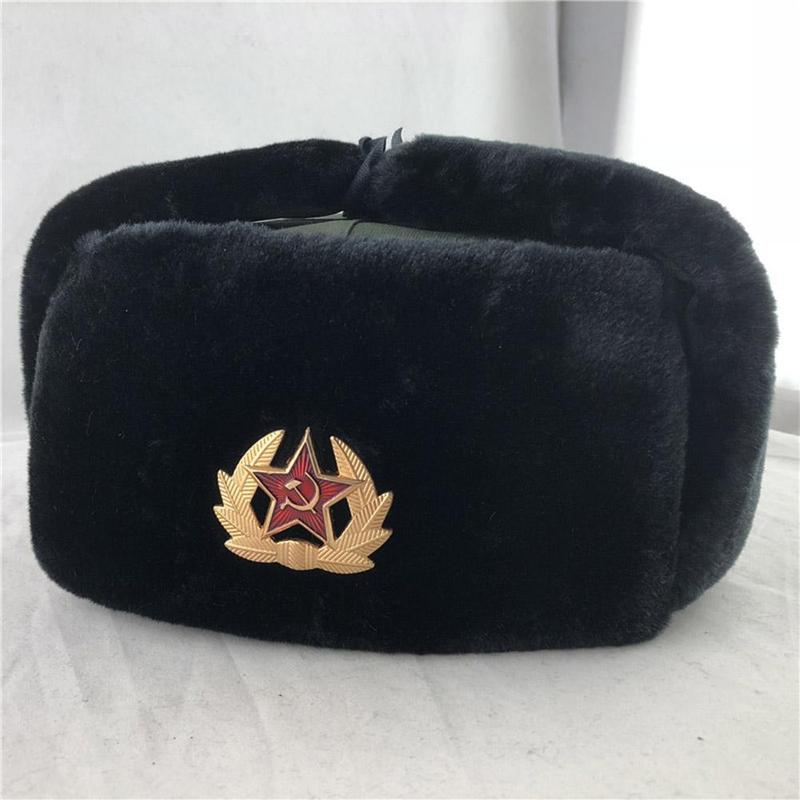 2019 Soviet Army Military Badge Russian Ushanka Winter Faux Rabbit <font><b>Fur</b></font> Earflap Snow Caps <font><b>Bomber</b></font> <font><b>Hats</b></font> Pilot Trapper Aviator Cap image