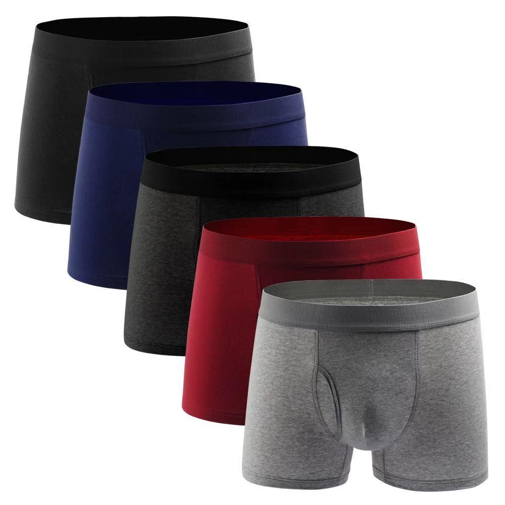 Men Boxer Underwear Shorts Open Hole Men Panties Cotton Underpants Pure Men Shorts Underwear Boxer Shorts Cotton Solid Cuecas