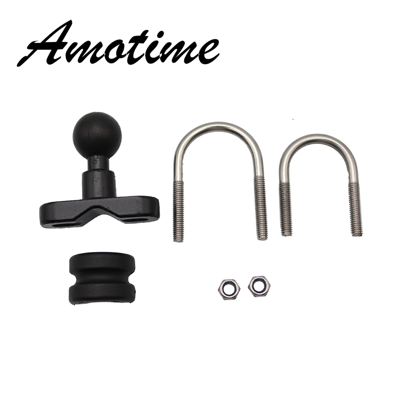 Motorcycle Handle Bar Rail Mount 37mm Width U-Bolt Mounting Base With 1 Inch Ball For Gopro GPS Work For Ram Mounts