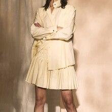 Autumn Style Ruched Pleated Shirt & A-line Mini Skirt Suit Set Women Sweet 2pcs Cest la chemise des petites choses