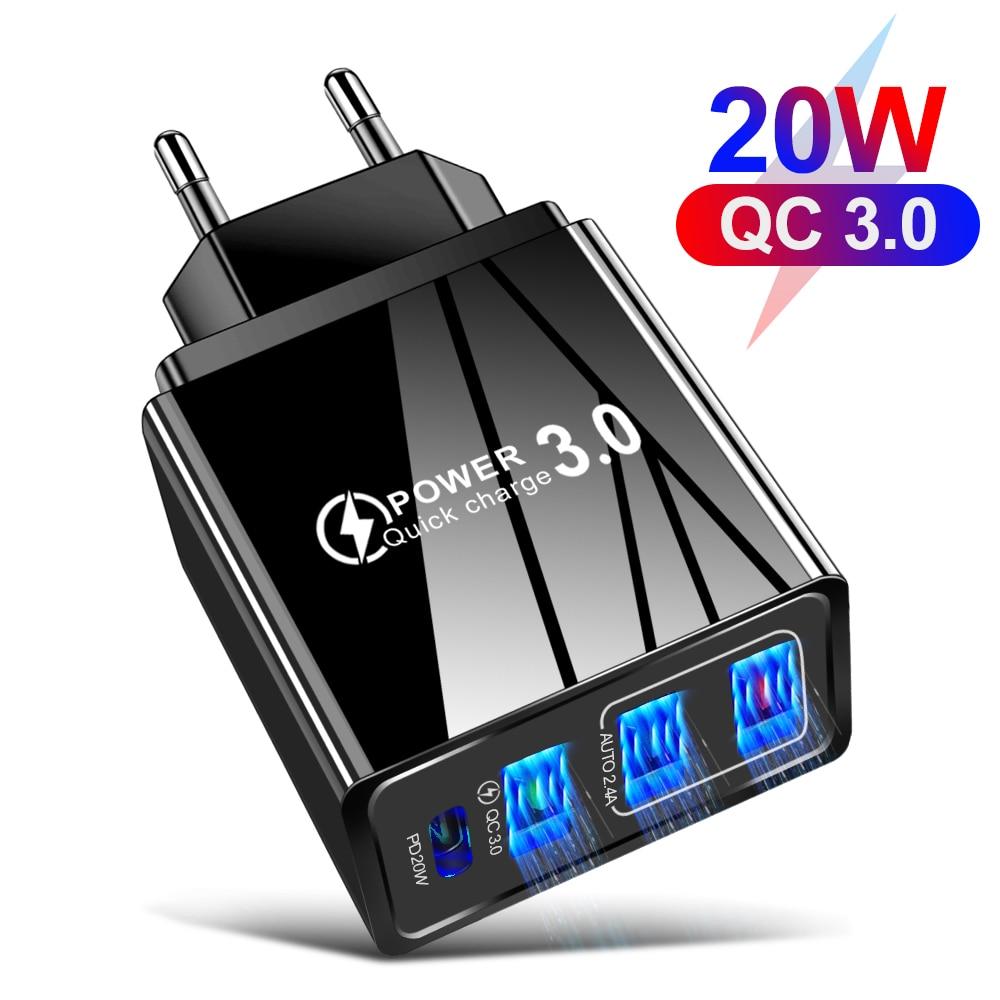 Новый PD20W + QC3.0 3.1A Dual USB, быстрая зарядка, мобильный телефон зарядное устройство мульти-порт USB с PD Зарядное устройство USB для IPhone Samsung Xiaomi