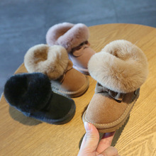 Claladoudou 11.5 15.5cm Brand Turned over Warm Plush Baby Snow Boots Genuine Leather Cute Butterfly Party Winter Shoes Toddler