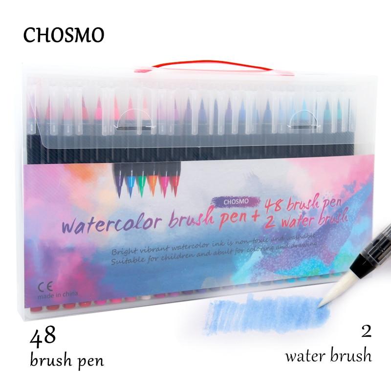 12/20/24/48/72 Colors Premium Markers Soft Set Watercolor Paint Brush Pen Effect Best Felt-Tip Pen For Coloring Books