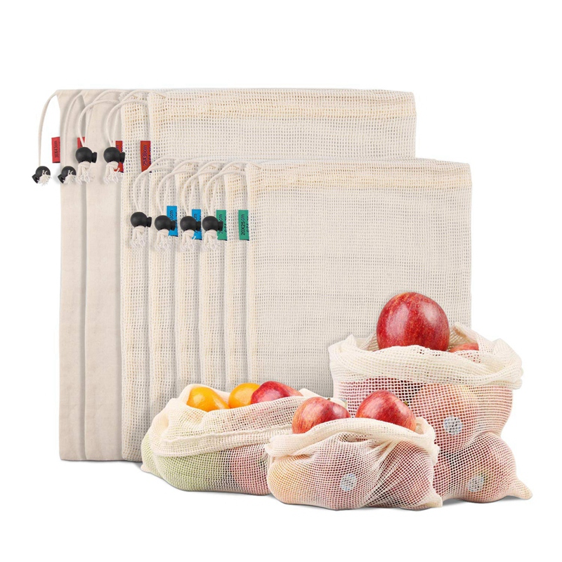 Reusable Produce Bags For Fruit Veggies Fridge Organizing Toys Lightweight&Drawstring Double Stitched Tare Weight Tag Washable O|Foldable Storage Bags| |  - title=