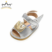Leather Sandals New Summer Baby Shoes Crown Print Princess Baby Girl Sandals Anti Slip Rubber Sole Baby Sandals Girls Boys