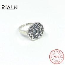 Bague ouverte en argent sterling s925, motif clair de lune, forêt, rétro, petit croissant créatif, bijoux géométriques ronds
