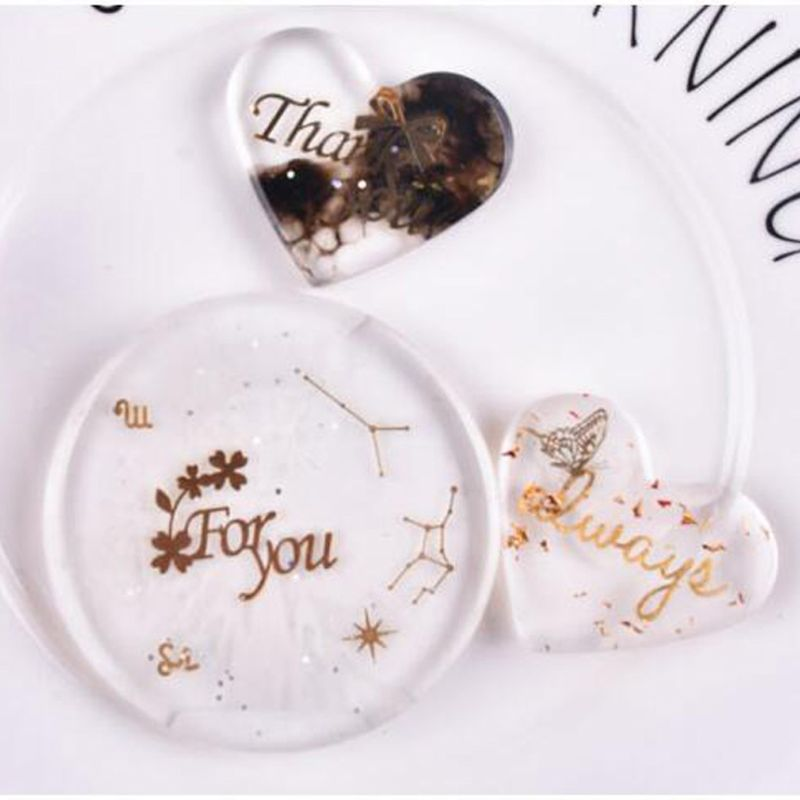 4Pcs UV Epoxy Resin Fillings Gold Letters Cat Flowers Stickers Resin Mold Decor T4MD