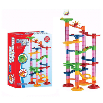 80pcs DIY Construction Marble Race Run Maze Balls Track Building Blocks Children Gift For Baby Educational Toys candice guo plastic toy children block track ball building blocks 74pcs diy maze marble run construction system race deluxe gift