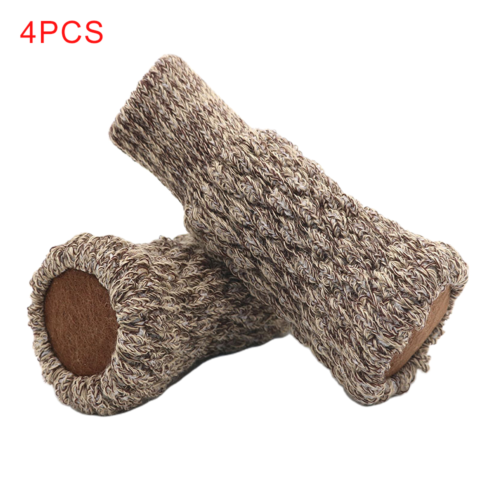 4pcs Noise Reduction Non Slip Chair Leg Socks Floor Protector Knitted Sleeve Foot Pad Table Furniture Cover Solid Anti Scratch