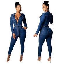 2019 Spring Patchwork Denim Jumpsuit Sexy Bodycon Full Body Feminino Elegant Front Zipper Rompers Womens Shirt Neck Jumpsuits