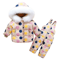 Children Winter Clothing Sets Toddler Kids Warm White Duck Down Jackets + Jumpsuit 2 Pcs Baby Girl Snowsuit Coats Pants Overcoat