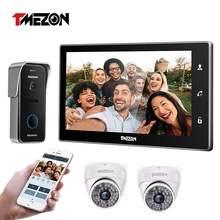 Tmezon-Timbre inteligente inalámbrico de vídeo, campana de pantalla táctil de wifi, con 1 monitor IP de 10 pulgadas, cámara de 1x720P y sistema de intercomunicación de teléfono y puerta alámbrica