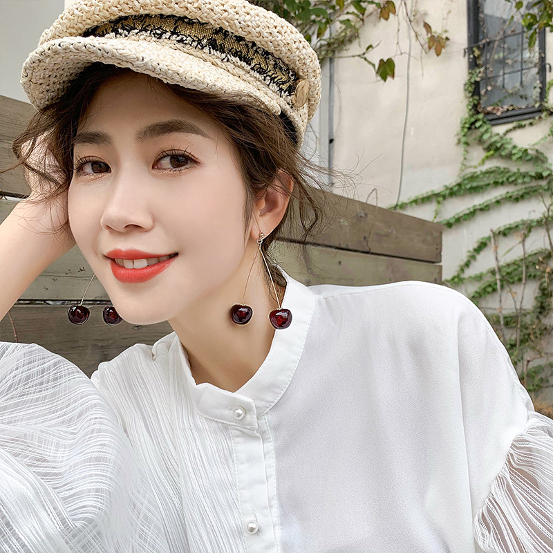 H198240d099c84683bb734f465d3f47b59 - AOMU S925 Sterling Silver Pin Autumn Winter New Wine Red Cherry Cute Fruit Long Drop Earrings For Women Vintage Pendientes Gifts