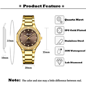 Image 2 - MISSFOX Elegant Woman Watch Luxury Brand Female Wristwatch Japan Movt 30M Waterproof Gold Expensive Analog Geneva Quartz Watch