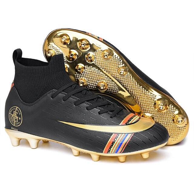 Zapatos de fútbol base dorada para hombre, zapatos de deportes de interior, picos de césped, Superfly Futsal, venta directa, zapatos de fútbol arcoíris de gran ayuda