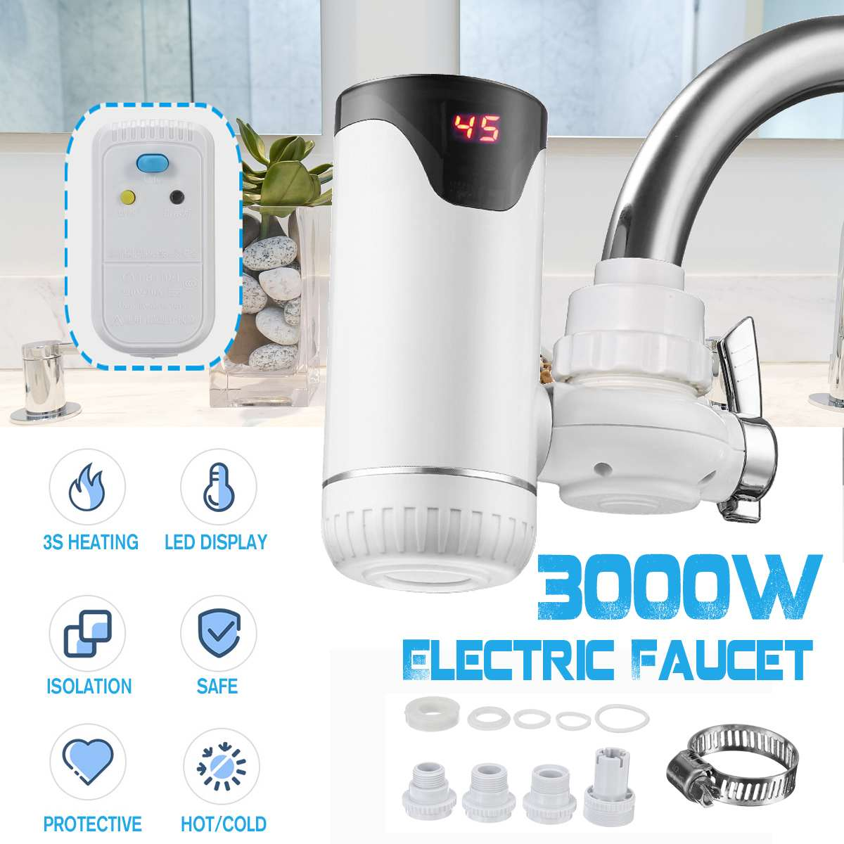 30s Instant Tankless Electric Kitchen Water Heater Tap Fast Heating Hot Cold Warm Water Digital Display Leakage Protector