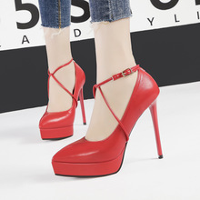 Liren 2019 Summer Fashion Sexy Women Office & Career Buckle Sandals Cross-tied High Thin Heels Platform