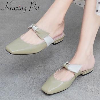 Krazing pot genuine leather square toe low heels slip on mules Korean street style butterfly-knot sweet girls summer sandals L08