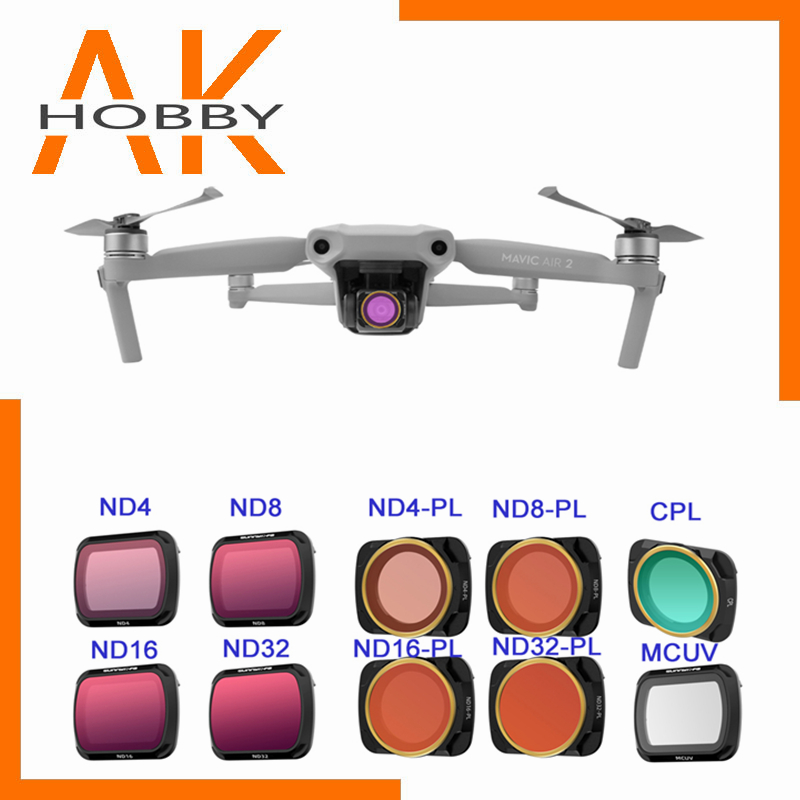 Sunnylife Lens Filter Set MCUV Adjustable CPL ND PL Filters ND16 ND32 ND4-PL ND8-PL For DJI Mavic Air 2 Drone Accessories