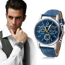 Nowa luksusowa moda krokodyl Faux Leather Men zegarek analogowy zegarki niebieski luksusowy zegarek na rękę zegar moda Relogio Masculino tanie tanio Cooeverly 24cm Luxury ru QUARTZ NONE 5Bar Sprzączka CN (pochodzenie) STOP 15mm Akrylowe bez opakowania Silikon 55mm 20mm