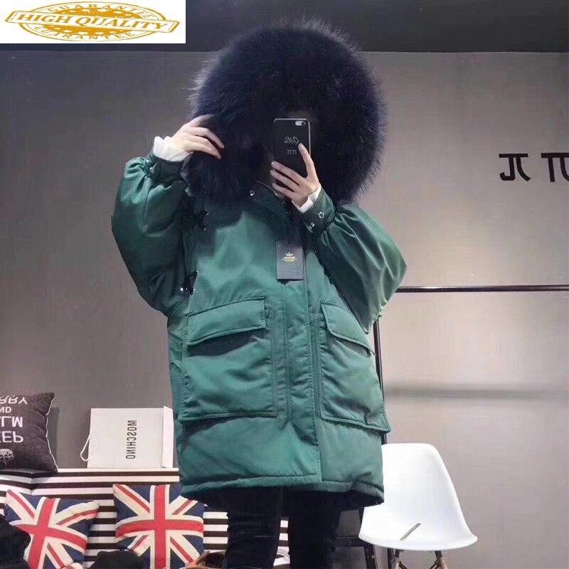 White Duck Down Jacket Woman Hooded Winter Coat Women Real Raccoon Fur Collar Korean Women's Jackets 2020 Parka KJ2816