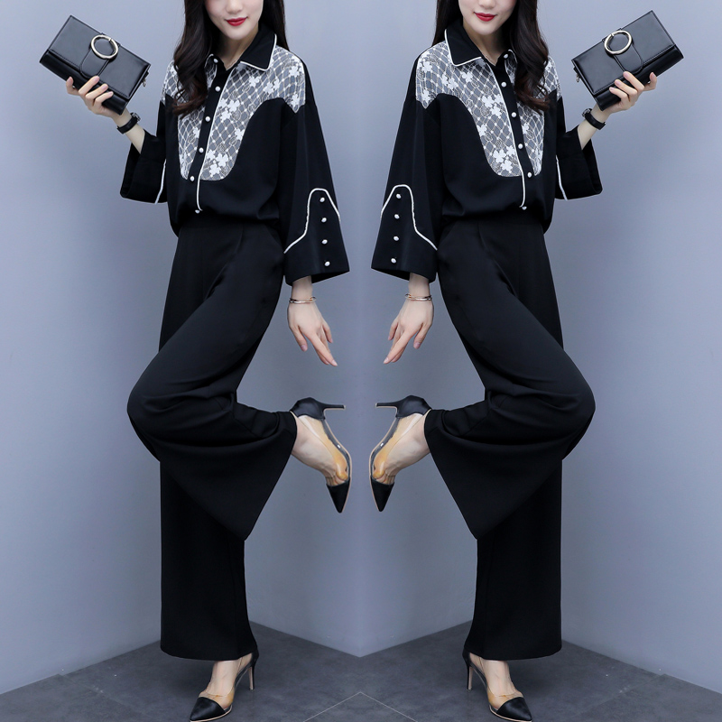 2019 Autumn Black Elegant Two Piece Sets Outfits Women Printed Tops And Wide Leg Pants Suits Office Korean Fashion 2 Piece Sets 32