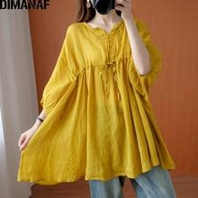 DIMANAF Plus Size Blouse Shirts Women Clothing Cotton Basic