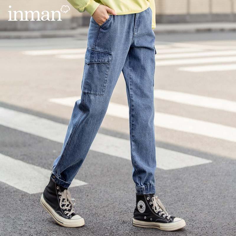 INMAN 2020 Spring New Arriavl Retro Pure Cotton Personality Fashion Frock Style Jean