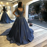 Mature Women Evening Dress 2020 Navy Blue Prom Dresses Lace Applique Beads Tassel Sleeves Swee Train Formal Wear Gowns