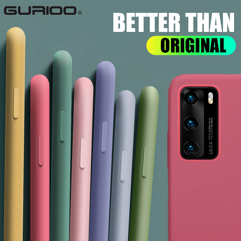 Liquid Silicone Case For Huawei Honor 8 8S 8X Max 9 9i 9A 10 20 Lite 30S V9 V10 V20 V30 Pro Play 3 Note 10 Original Candy Cover|Fitted Cases|   - AliExpress