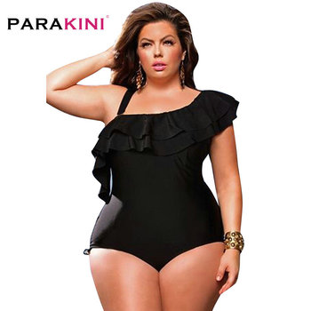PARAKINI Strap Cold Shoulder Swim Suits Black Ruffle Overlay One Piece Swimwear 2020 New Plus Size Swimwear Women Bathing Suit 5