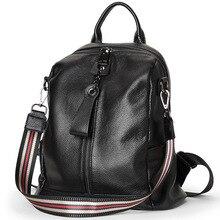 2020 100% Genuine Leather Women Backpacks Fashion Rucksack Girls Knapsack High Quality Mochila Small Shopping Shoulder Bag Black